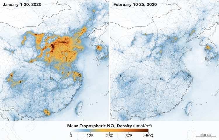 Mappa calo diossido di azoto in Cina