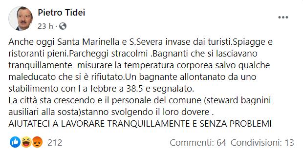 Pietro Tidei sindaco (Facebook)