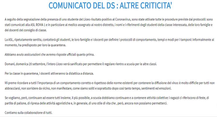 Comunicato Liceo Scientifico Righi Roma