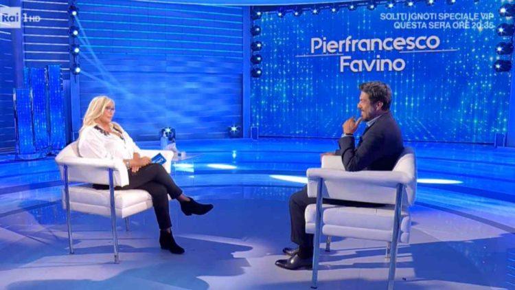 Mara Venier e Pierfrancesco Favino (foto dal web)