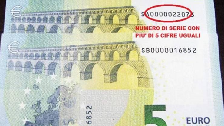 Banconota con 5 numeri di serie uguali