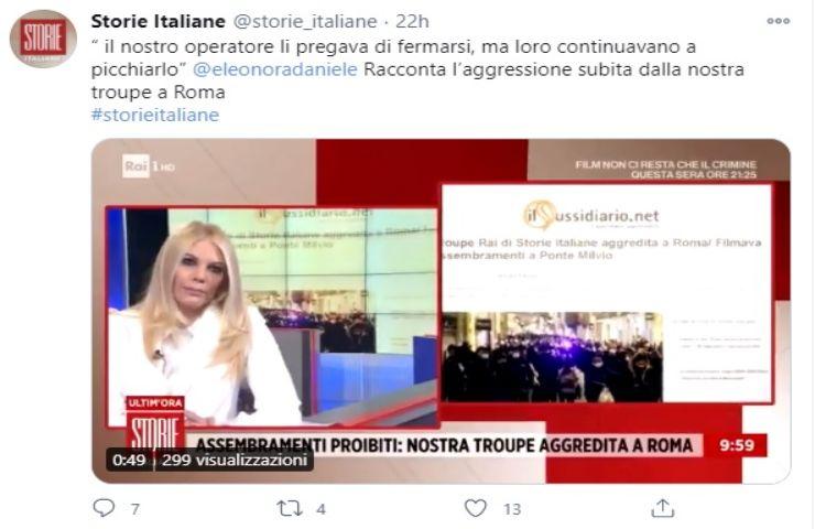 Storie Italiane troupe aggredita
