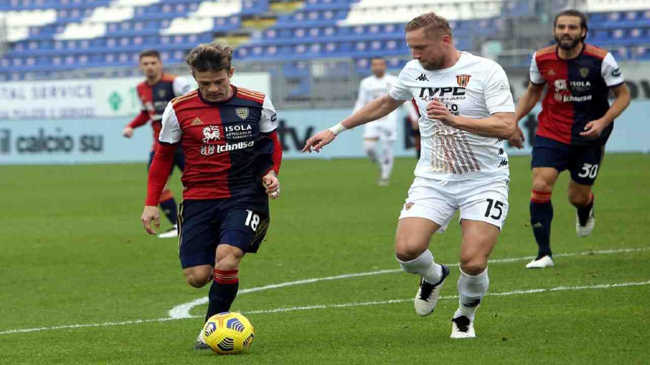 Cagliari-Benevento tabellino pagelle serie A