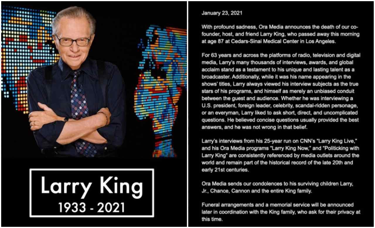 Larry King - L'annuncio della morte del conduttore su Twitter
