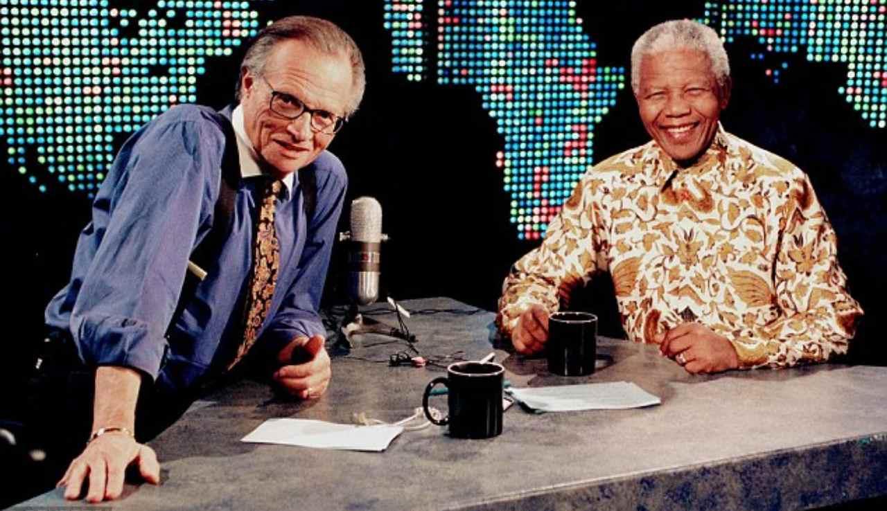 Larry King e Nelson Mandela