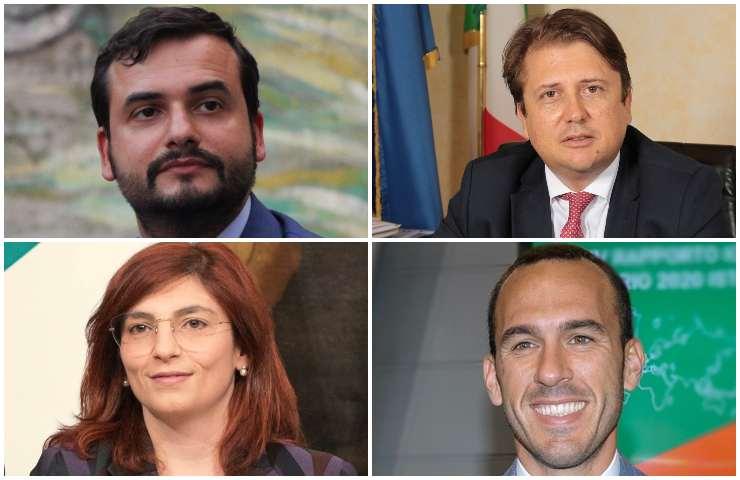 I sottosegretari del M5S Carlo Sibilia, Pierpaolo Sileri, Laura Castelli, Manlio di Stefano