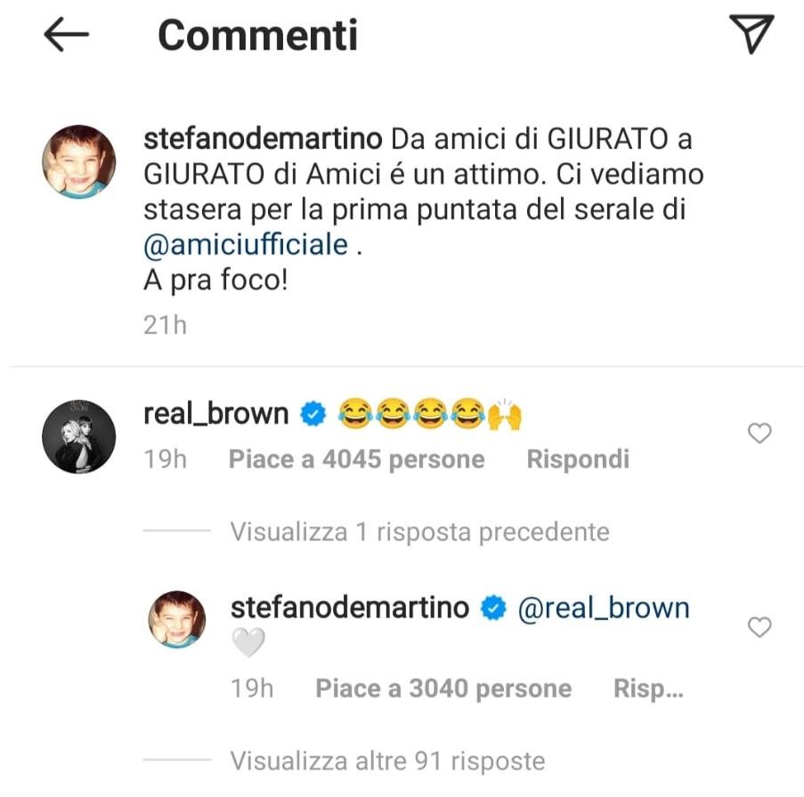 Stefano De Martino e Emma Marrone commenti IG