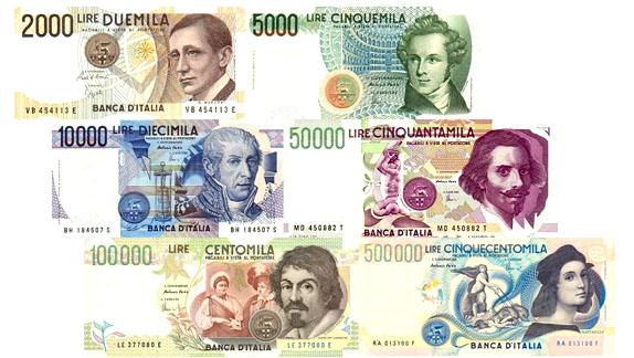 Banconote lire italiane valore