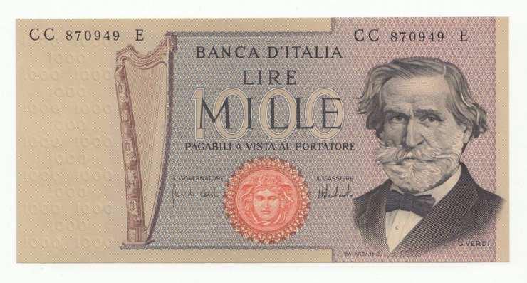 Mille lire Giuseppe Verdi