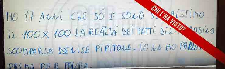 lettera anonima Denise Pipitone