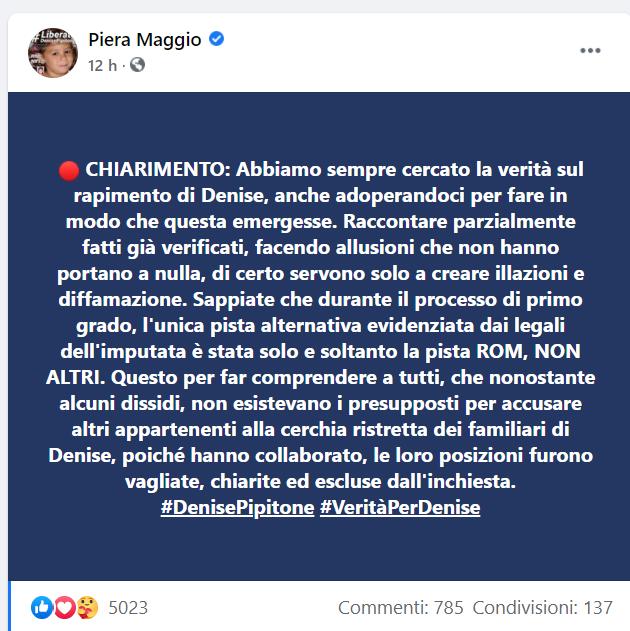 Piera Maggio messaggio Facebook scomparsa Denise