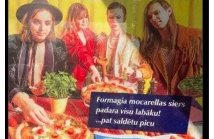 Maneskin pubblicità mozzarella Lettonia