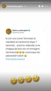 """Elettra Lamborghini commenta """"Temptation Island"""" foto esilaranti"""