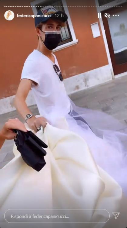 Federica Panicucci abito bianco Red Carpet Venezia foto