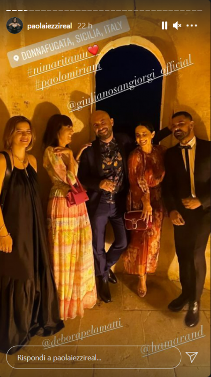 Paola Iezzi matrimonio Leone abito Gucci corallo spettacolare foto