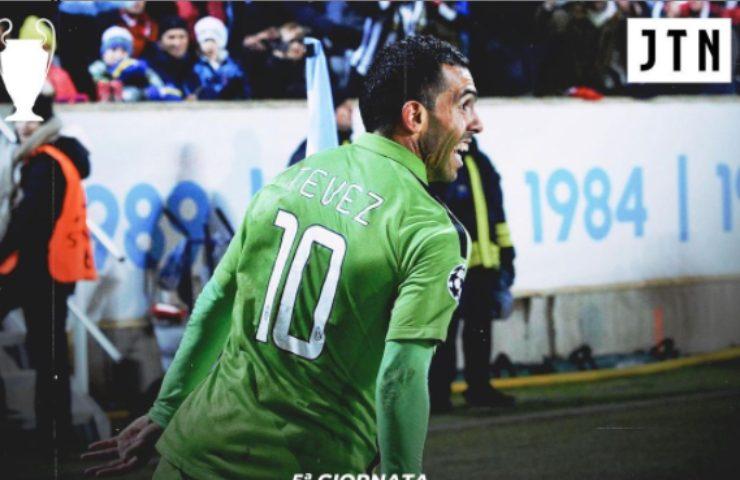 Tevez esulta in Malmoe-Juventus 0-2