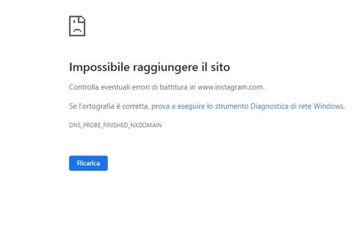 Impossibile raggiungere il sito, pagina Instagram interrotta